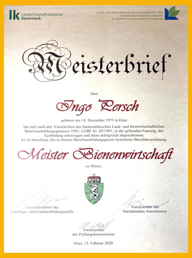 Ingo Persch - Imkermeister Meisterbrief
